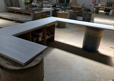 A U shaped laminate benchtop with differing side lengths ordered via DIY to be delivered to Golden Grove
